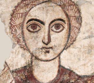 Ilustracja: malowidło ścienne – Archanioł Michał, fragment, Faras (Sudan), IX w. fot. MNW